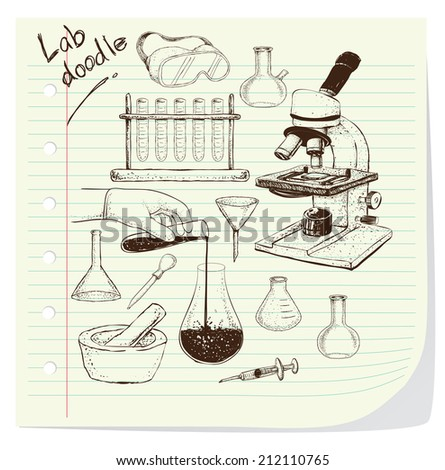 Vector illustration of laboratory equipment doodle on striped paper - stock vector
