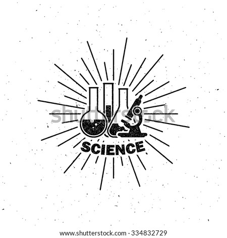vector illustration of laboratory equipment icon. science concept. letterpress vintage label design.  - stock vector