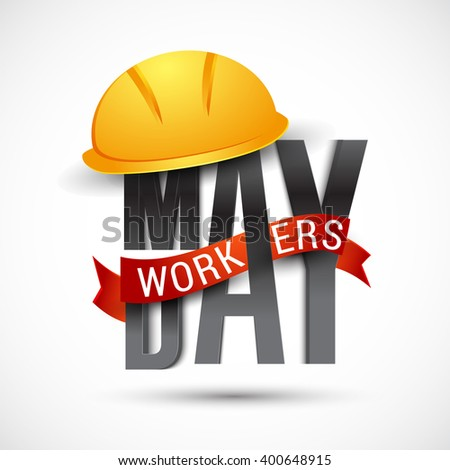 Vector illustration of Labour Day typography concept with safety cap.