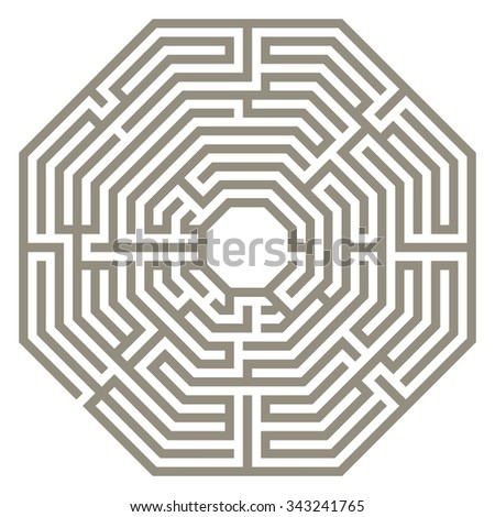 Vector illustration of labyrinth. Some wrong ways and one exit. - stock vector
