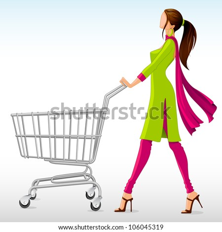 vector illustration of lady in salwar suit with shopping cart - stock vector