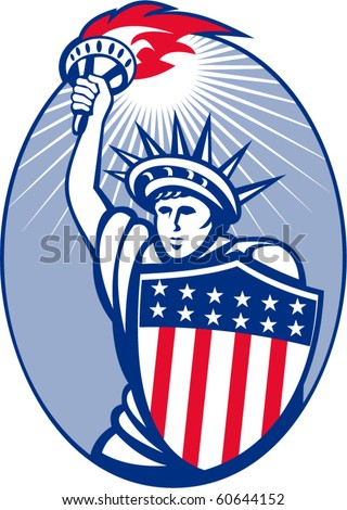 vector illustration of lady statue of liberty with torch and shield set inside oval.
