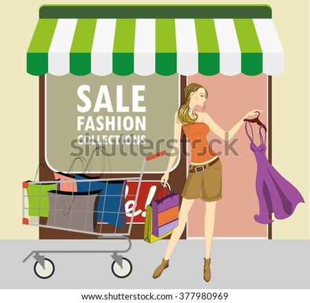 vector illustration of lady with shopping cart and shopping bags - stock vector