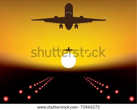 vector illustration of landing plane over runway at sunset - stock vector
