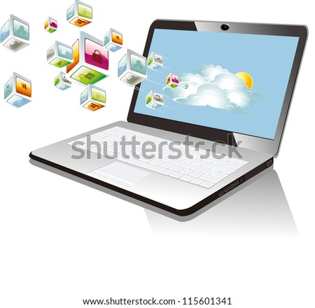 Vector Illustration of laptop - stock vector