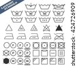 Vector illustration of laundry symbols set. 45 isolated black grunge icons with text sign. Fully editable file for your projects. - stock vector