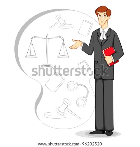 vector illustration of lawyer with book in court backdrop - stock vector