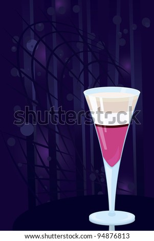 Vector illustration of layered  cocktail on night disco background - stock vector