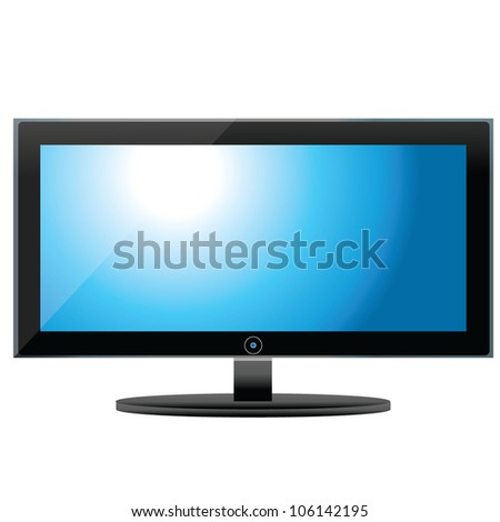 vector illustration of LCD tv monitor - stock vector