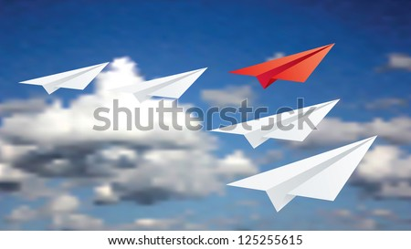 Vector illustration of leadership concept with paper planes. - stock vector