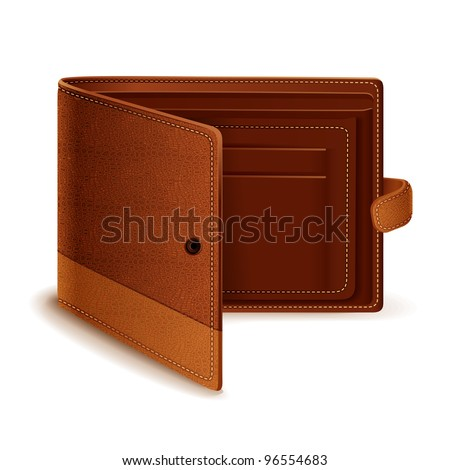 vector illustration of leather wallet against white background