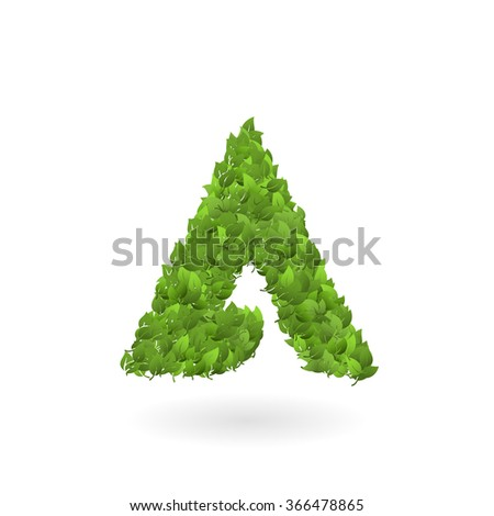 Vector illustration of letter A of green leaves. Organic ECO logo  - stock vector