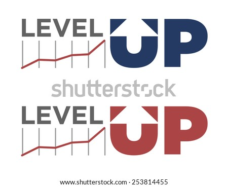 Vector illustration of level up text in different colors  - stock vector