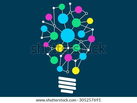 Vector illustration of light bulb with network of different objects or ideas. Concept of ideation or creativity.  - stock vector