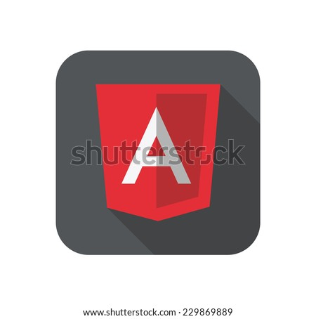 vector illustration of light red shield with A letter for javascript framework on the screen - stock vector