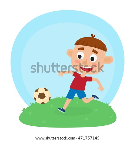 Vector illustration of little boy in shirt and short playing football.