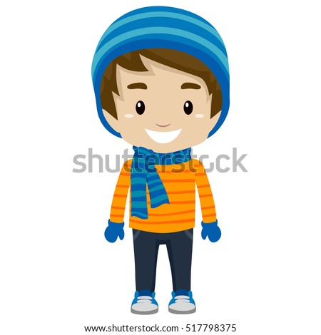 Vector Illustration of Little Boy wearing Winter Clothes