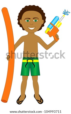 Vector Illustration of little boy with noodle and water gun. - stock vector