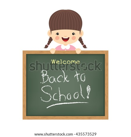 """Vector illustration of little cute girl and blackboard written """"Welcome back to school"""". Isolated cartoon character.  - stock vector"""