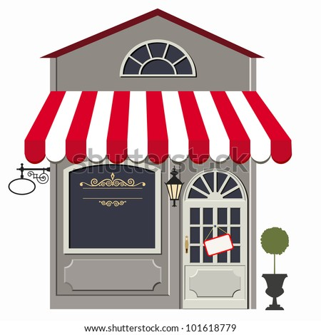 Vector illustration of little cute retro store, shop or boutique - stock vector