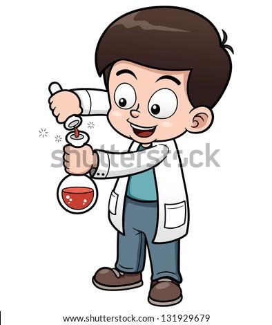 Vector illustration of Little Scientist holding test tube - stock vector