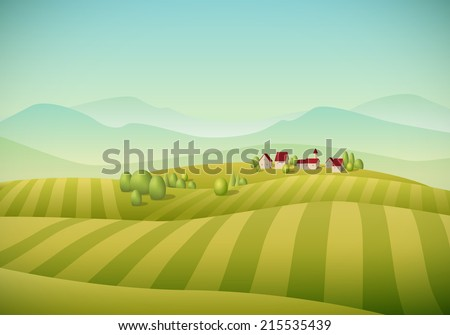Vector illustration of little village landscape with fields. - stock vector