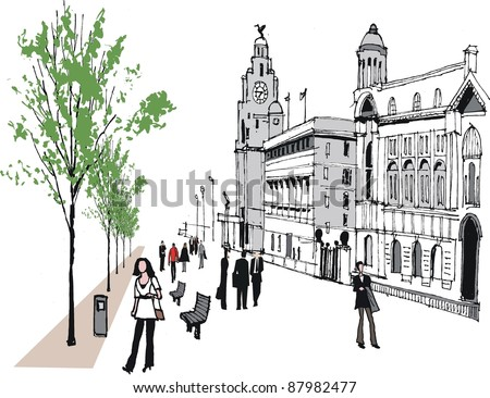 Vector illustration of Liverpool waterfront, England with people.