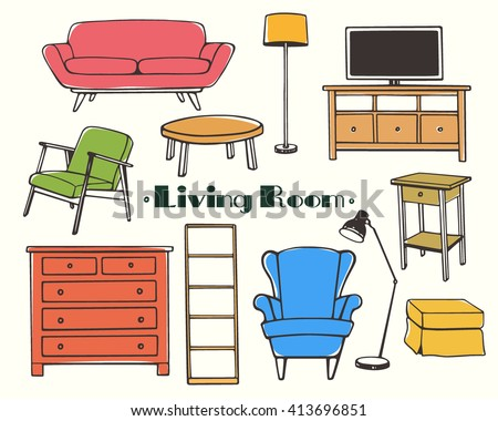 living room furniture clipart. vector illustration of living room furniture. hand drawn furniture set made in linear style. clipart
