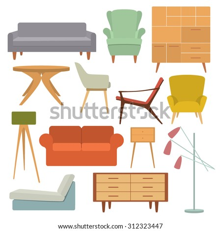 Vector illustration of living room furniture in mid century modern style.  Beautiful design elements,