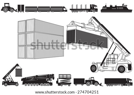 Vector illustration of loading  and Transport concept, containers and transportation. Set of Transport icons - stock vector