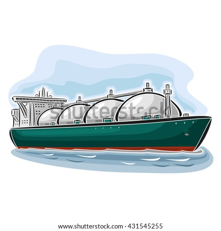 Vector illustration of logo for LNG liquefied natural gas carrier ship, consisting of  cryogenic super tanker, vessel with nautical storage tank for propane methane gas close-up on blue background - stock vector