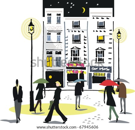 Vector illustration of London city scene at night with pedestrians. - stock vector