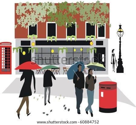 Vector illustration of London pub with pedestrians walking in rain. - stock vector
