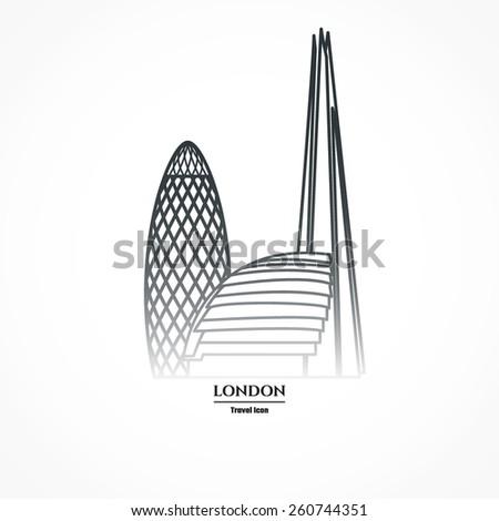 Vector Illustration of London Skyscraper Icon Outline for Design, Website, Background, Banner. Travel Britain logo Downtown Landmark Element Silhouette Template for Tourism Flayer - stock vector