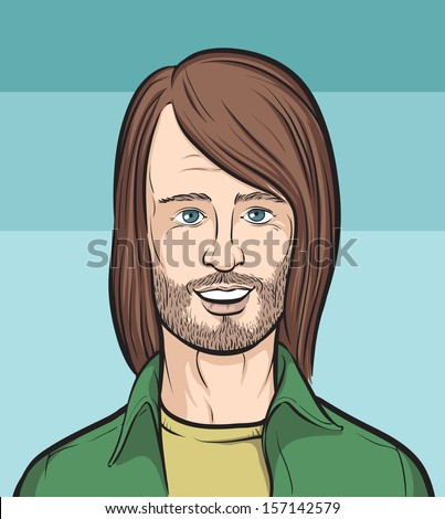Vector illustration of Long haired bearded man. Easy-edit layered vector EPS10 file scalable to any size without quality loss. High resolution raster JPG file is included. - stock vector