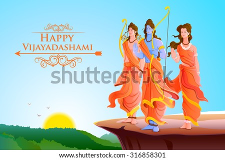 vector illustration of Lord Rama,Laxmana and Sita for Happy Dussehra - stock vector