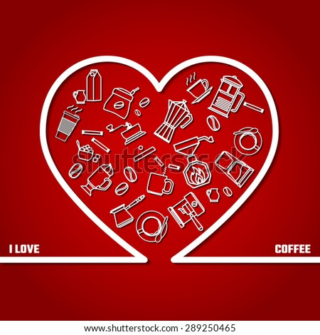 Vector Illustration of Love Coffee concept Outline for Design, Website, Background, Banner. Beans types Element Template for menu restaurant or inforgaphic.  milk with cup of Cappuccino or espresso.  - stock vector