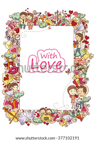 vector illustration of love doodle background for Valentine's Day - stock vector