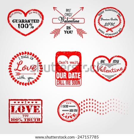 Vector Illustration of Love Postage Emblem Stamp Element Design, Website, Background, Letter, Banner. Label Logo Valentine Day Template for Lovers Romantic Send - stock vector