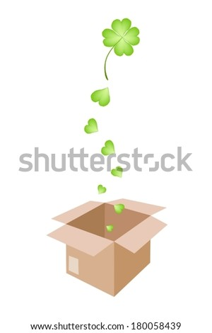 Vector Illustration of Lovely Fresh Four Leaf Clover Plants or Shamrock Falling in A Cardboard Box for Shipping or Delivery to St. Patricks Day Celebration.  - stock vector