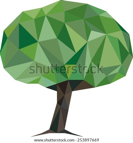Vector Illustration of Low Poly Tree - stock vector