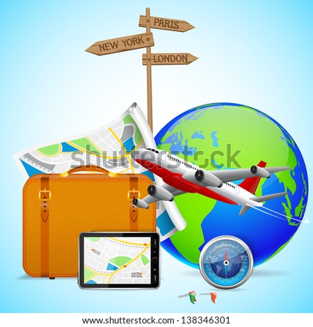 vector illustration of luggage with map and flying airplane around globe - stock vector