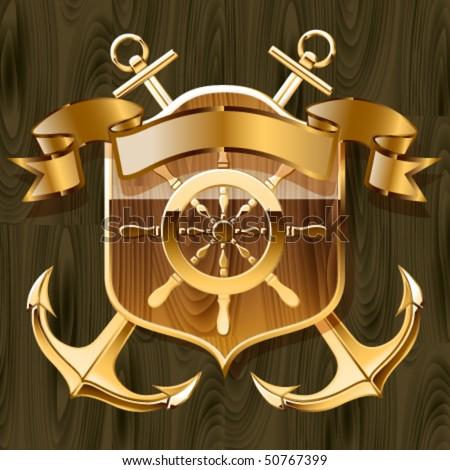 Vector illustration of luxurious yacht club emblem - stock vector