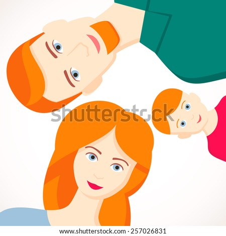 Vector illustration of  lying down young family. Happy parents with baby. Red-haired family - stock vector