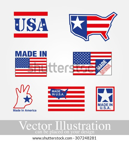 Vector illustration of made in usa on a background - stock vector