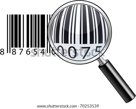 Vector illustration of magnifying barcode. - stock vector