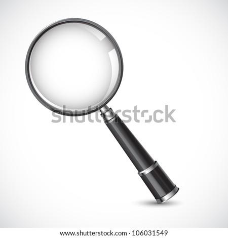 vector illustration of magnifying glass against white background - stock vector