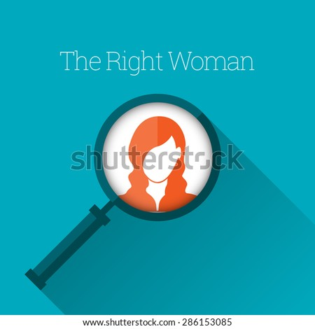 Vector illustration of magnifying glass focus on a woman profile. - stock vector