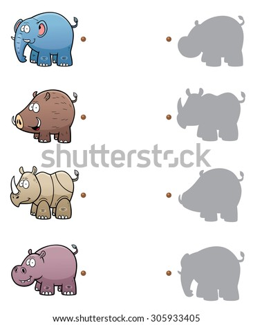 Vector Illustration of make the right choice and connect shadow matching - stock vector