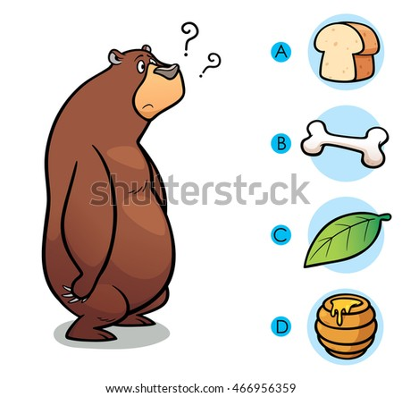 Vector Illustration of make the right choice connect animal with their food - Bear